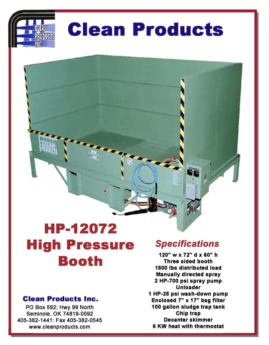 High Pressure Spray Booth : High pressure spray wash booth specifications