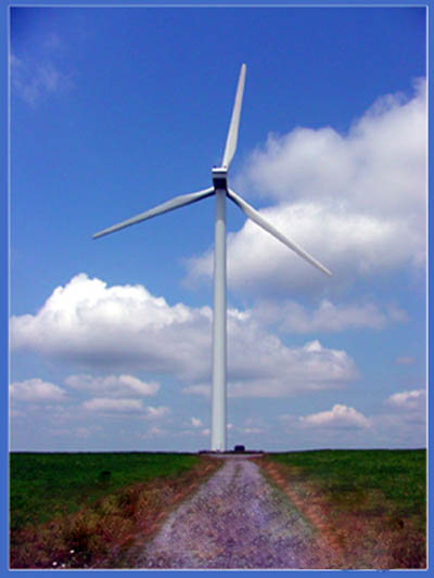 Wind Turbine produces electricity